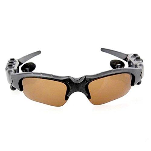 Sonnenbrille Bluetooth Headset Kopfhörer Machen Sie iPhone Anrufe, polarisierte Gläser, Hi-Fi-Kopfhörer, für Bluetooth-Telefone, braune Gläser, Schwarze Rahmen.