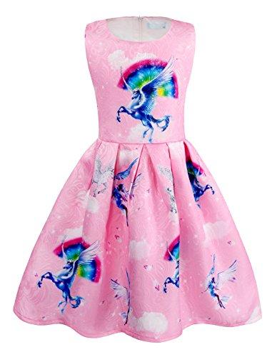 AmzBarley Einhorn Kostüm Kleid Kinder Einhörner Kleidung Mädchen Ärmellos Beiläufig Prinzessin Kleider Geburtstag Urlaubs Party Karneval Zeremonie Ankleiden