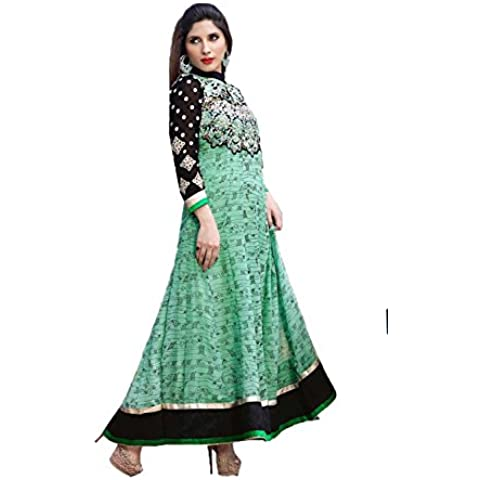 DaFacioun Indian Women Designer Anarkali Black Salwar Kameez R-13003
