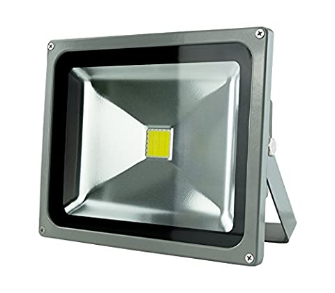 LED outdoor floodlight based on COB technology - waterproof IP 65 -aluminium - grey colour - 30W is equivalent to 300W - 265V - 2400 lumens - 6500K, white cold