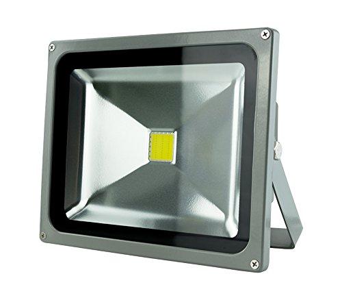 Faro a LED per montaggio esterno a tecnologia COB - impermeabile IP 65 - alluminio - colore grigio - 30W equivalente a 300W - 265 V - 2400 lumen - 6500K bianco freddo