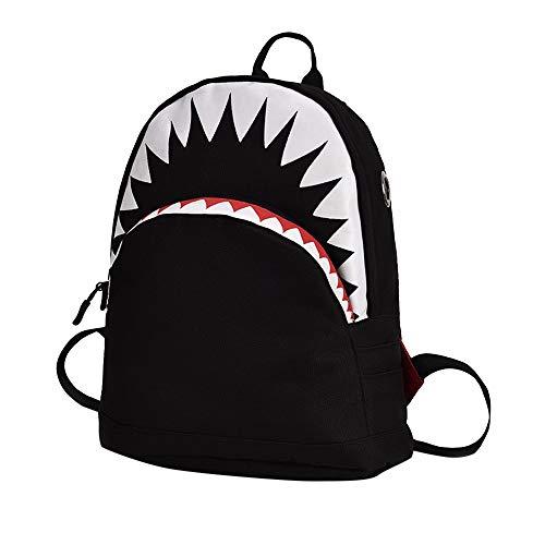YWLINK MäDchen Jungen Kinder Komisch Cartoon Hai-Tier Shark Campus Rucksack Kleinkind Schultasche Rucksackhandtaschen Daypacks(Schwarz,30cm(L)*15cm(W)*35cm(H))