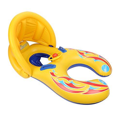 Preisvergleich Produktbild Glagie Schwimmring für Baby von 1 bis 3 Jahre Aufblasbare Umweltfreudlich PVC Schwimmhilfe Schwimmreifen mit Sonnendach und Lenkrad Gelbe