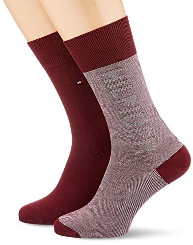 Tommy Hilfiger Herren TH MEN 2P TOMMY Socken, Mehrfarbig (Bordeaux 070), 39/42 (Herstellergröße: 039) (2er Pack)