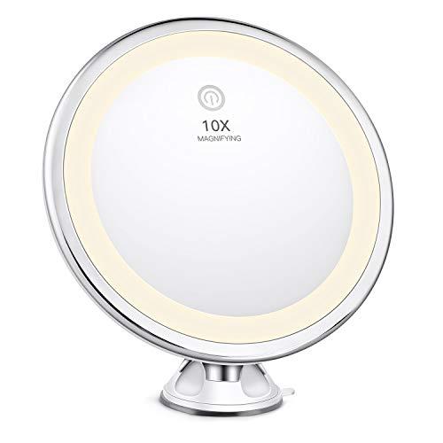 Bestope - specchio da trucco con ingrandimento 10x, illuminato in 3 modalità di illuminazione intelligente, portatile, rotazione di 360 gradi, potente ventosa, per tavolo da bagno e da viaggio
