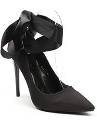 Ideal Shoes - Escarpins en satin avec lacets satinés Jeanne