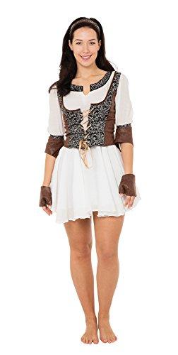 Bristol Novelty AC309 Mittelalterliche Jägerin Kostüm, braun, UK 10-14
