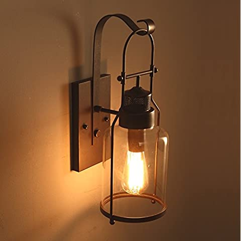 Rural stile industria del vetro della lampada retrò antichi camera da letto comodino muro di ferro