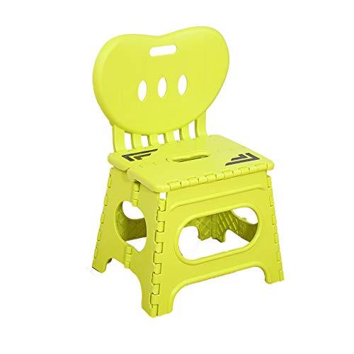 Folding chair Chaise - Tabouret Pliant, Petit Cheval à la Maison, Banc de Train en Plastique épais/Dossier / Mini Tabouret portatif pour Enfants (Couleur : Le Jaune)