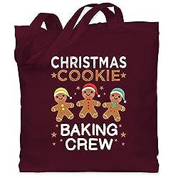 Weihnachten & Silvester - Christmas Cookie Baking Crew - 3 Kekse - Unisize - Bordeauxrot - WM101 - Stoffbeutel aus Baumwolle Jutebeutel lange Henkel