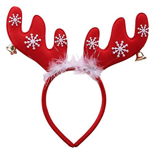 Longsw Weihnachts-Haarreif, Schneeflocke, Elch Horn, Dekoration, Glocke, Haarband, -