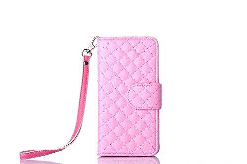 Pour iPhone 5/5s Cas, iNenk® PU Cuir téléphone Shell Agneau Sangle Grille Modèle Porte-monnaie Phone Cas Retro Carte Couverture Pour Femmes-Rose Rose