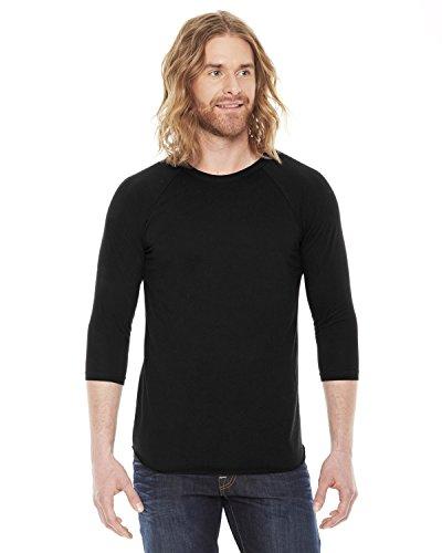 American Apparel Unisex Poly/Baumwolle 3/4Sleeve Raglan Shirt bb453 Gr. L, schwarz (Ärmeln Poly-baumwolle-shirt)