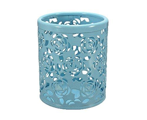 Leegoal (TM) Hohl Rose Blume Metall Stift Bleistift Cup Halter Schreibtisch organizerstationery Aufbewahrungsbox Blue-Rose Pattern Blue Rose Cup