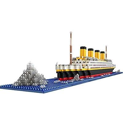 AOLVO 1860pcs Puzzle 3D Bloc de Construction Titanic, DIY Kits de Construction de modèle Titanic, Jeux éducatifs Maquette De Bateau Jouets Enfants Titanic Building Blocks Ship