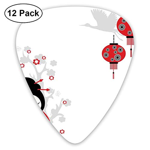 Celluloid Guitar Picks - 12 Pack,Abstract Art Colorful Designs,Geisha Woman Holding Japanese Fan Floral Landscape Crane Bird Happiness Classical,For Bass Electric & Acoustic Guitars. -