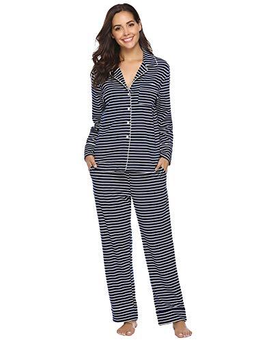 585587744f Aibrou Damen Schlafanzug Pyjama Lang Gestreift 100% Baumwolle Winter Warm  Nachtwäsche Sleepwear mit Knöpfeleiste Dunkelblau