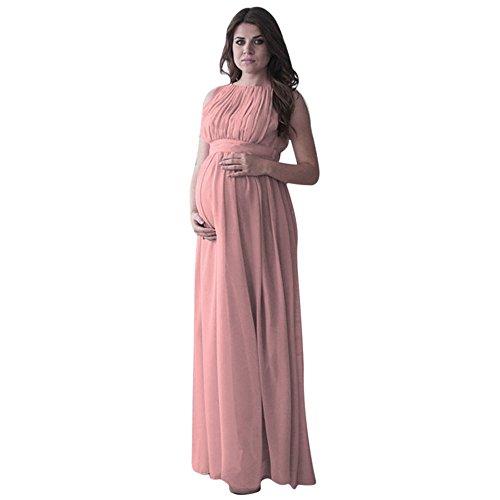 Schwangere Frauen Fotografie Stützen, Schwanger Kleid Maternity,Mutterschaft Fotografie Kleidung Schwangerschafts Maxikleid Schwangerschafts Kleid Boho Chic Krawatte Langes Kleid(L,Rosa -