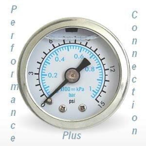 Marshall remplis de Blanc Échelle double 15PSI Jauge de pression de carburant 3,8cm de diamètre