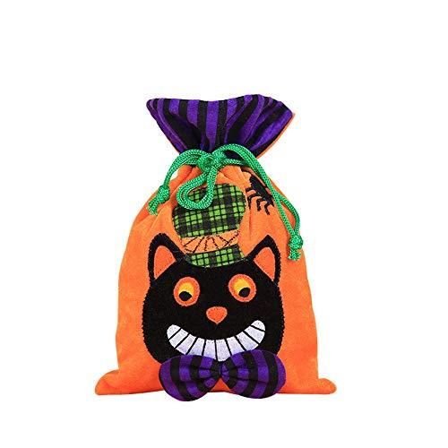 Aolvo Halloween Goodie Taschen, 26,9x 15cm Halloween Trick or Treat Kordelzug Staubbeutel Weiche Flanell 3D Halloween Thema Staubbeutel für Halloween Party Kirche Event Schwarze Katze