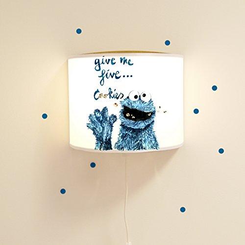 eselampe Schlummerlampe Wandlampe Kinderlampe Lampe Cookiemonster mit Punkten Ls04 - ohne Wandtattoo (Cookie Monster Dekorationen)
