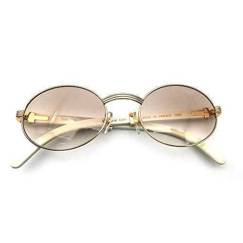 LKVNHP New Hochwertige Klassische Sonnenbrille Männer Weiße Brille Frame Shades Marke Sonnenbrille Oval Brille RundeFarbverlauf Brown-57