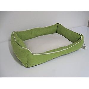 Hundebett Leo beige grün 60 x 45 cm Kuschel Bett Schlafplatz für Hunde und Katzen umweltfreundliches Material