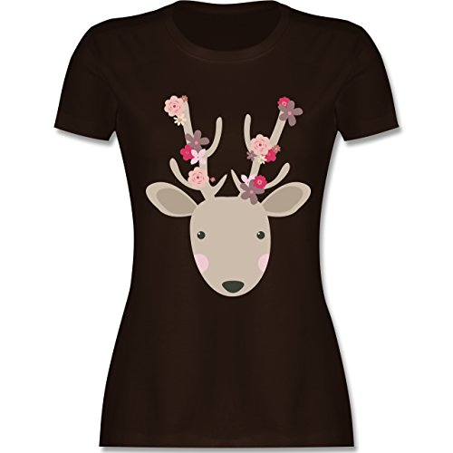 Ostern - Süßer Hirsch - Frühlingstiere mit Blumen - tailliertes Premium T-Shirt mit Rundhalsausschnitt für Damen Braun