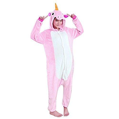 Wenyujh Damen Mädchen Tier Schlafanzug Cartoon Einhorn Cosplay Flanell Pyjamas Fasching Halloween Kostüm Jumpsuit Overall