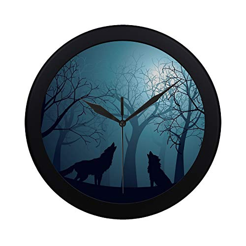EIJODNL Moderne einfache Silhouette Wolf Howling Moon Wald Nacht Wanduhr Indoor Nicht-tickende Silent Quarz ruhig Sweep Bewegung Wand Clcok für Büro, Bad, Wohnzimmer dekorative 9,65 Zoll