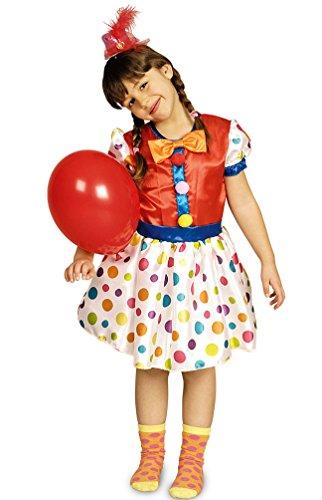 lown-Kostüm Kinder Mädchen bunt gepunktet Kleid mit Punkten Größe 116-128 (Süße Clown Kostüme Für Kinder)