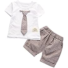 Babybekleidung,Resplend Kleinkind Kinder Baby Jungen Kurzarm Tops 2 Stück Bekleidungssets Krawatte T-Shirt + Kurze Hose Outfits Kleidung Set