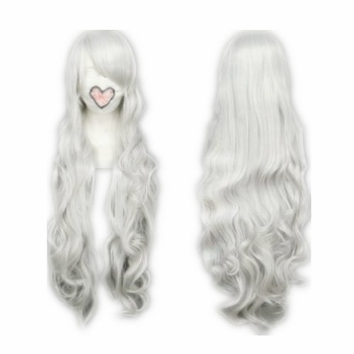 COSPLAZA Cosplay Wig Kostueme Peruecke Fairy Tail Mirajane¡¤Strauss Lang Silber gewellt Synthetische Haare