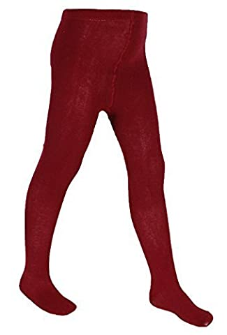 Girls Plain School Knitted Cotton Rich Warm Tights 3 Pairs (8-9 Yrs, Wine)