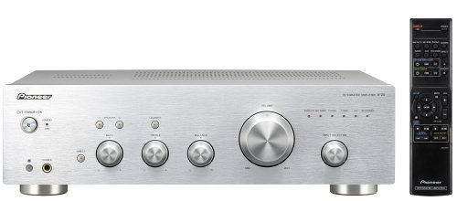 Pioneer A-20-S - Amplificador estéreo (140 W, botones táctiles, indicadores LED, ajuste de bass, mando a distancia), plateado