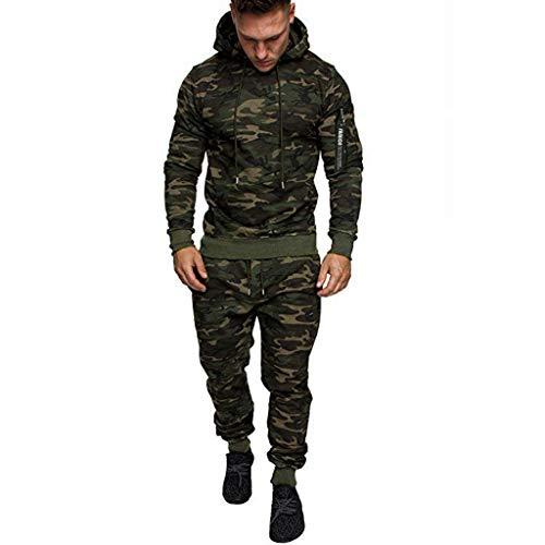 Herren Camouflage Army Jogginganzug Trainingsanzug Jogging Kostüm Trainingshose+Kapuzenjacke Sportanzug Sweatjacke Hose Anzug Fitness Yoga Trainingshose Sporthose Sweater Pullover Sweatshirt (Mädchen Army Kostüm)
