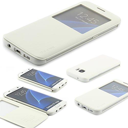 Samsung Galaxy S7 EDGE Schutz Hülle G Case Elegant Series Handy Schutz Tasche Flip Cover mit Sichtfenster edles Case ScorpioCover weiss / creme