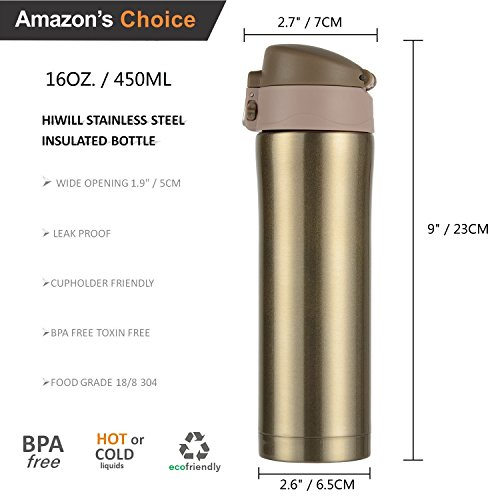Hiwill Double Walled Vacuum Insulated Travel Coffee Mug, Stainless Steel Flask, Sports Water Bottle, 450ml Golden