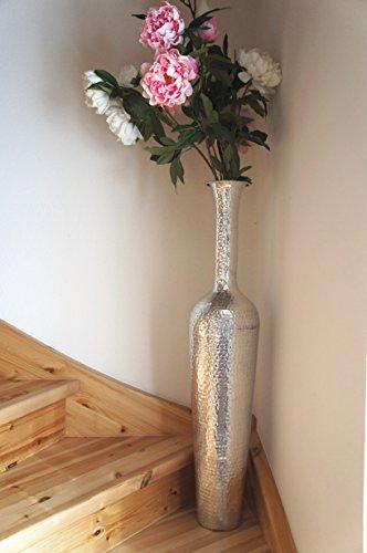 """XXL Bodenvase """"Missandé"""", Metall Alu glänzend Designer-Vase Farbe Silber, 96 cm"""