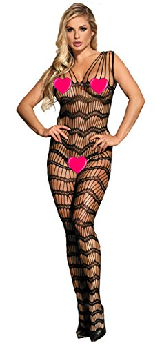 MarysGift Womens Floral Lace Fishnet Open Crotch Bodystocking Sexy Lingerie Body Stockings Plus Size UK 6 8 10 12 14 16 18