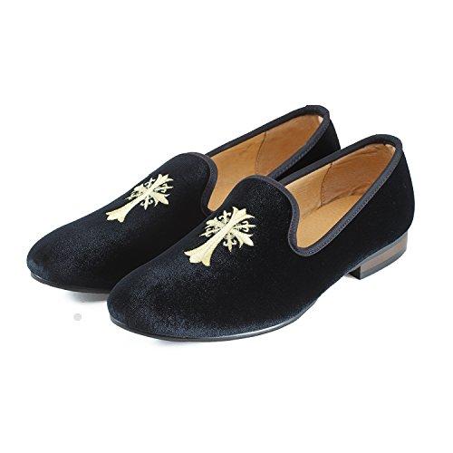 Viaggio West Mens Vintage Scarpe In Velluto Pantofola Mens Ricamo Nobile Scarpe Da Uomo Slipper Tuxedo Mocassini Mocassini Mens Scarpe Mocassini Mens Nero Croce