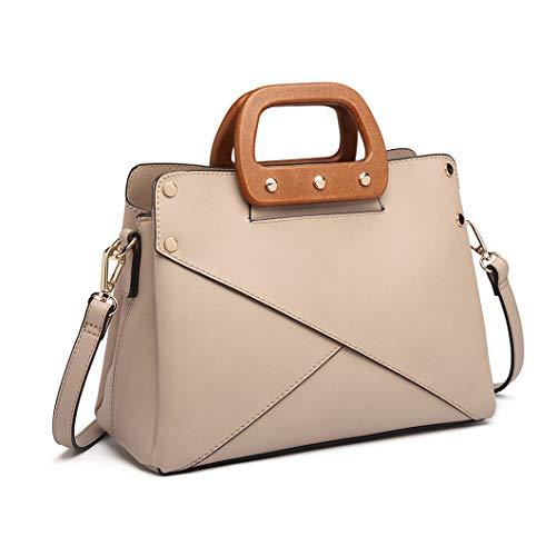 17771eccd8c78 Miss Lulu Women Top Handle Bag Wooden Grab Handles and Crossover Fabric  Design Trend Shoulder Bag