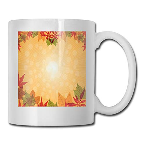 Aspen Labs (Jolly2T Funny Ceramic Novelty Coffee Mug 11oz,Striped Dotted Background and Vibrant Maple Aspen Oak Leaves Seasonal Nature,Unisex Who Tea Mugs Coffee Cups,Suitable for Office and Home)