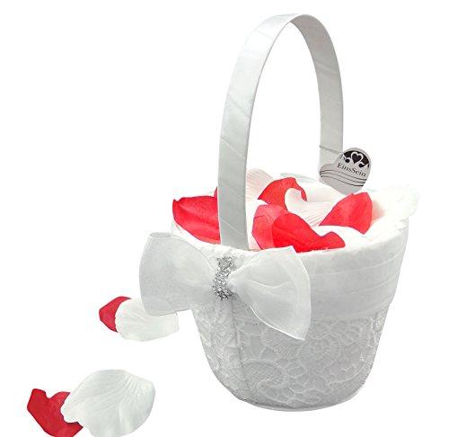 1x Streukörbchen Hochzeit EinsSein® Liz weiss Blumenkinder Hochzeit Blumenkorb Blumenkörbe Blumenmädchen Blumendeko basket girl flower