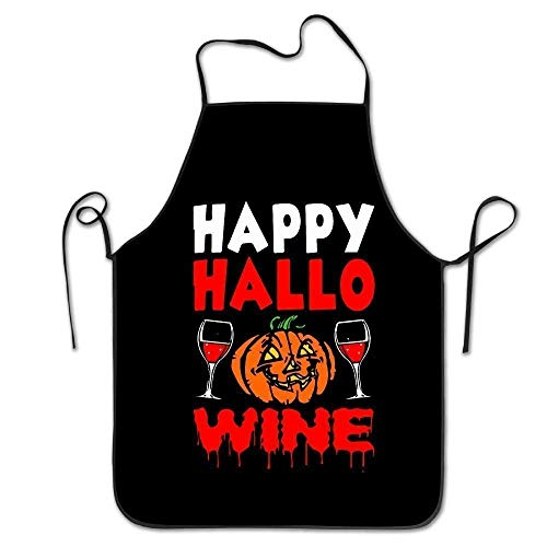 Icndpshorts Happy Hallo Wine Halloween Unisex Cooking Kitchen Aprons Chef Apron Bib