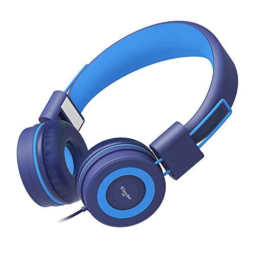pfhörer für Kinder Jugendliche Erwachsene Faltbare verstellbar am Ohr Kopfhörer mit 3,5-mm-Buchse für iPad-Handys Computer MP3 / 4 Kindle Airplane School Navy/Hellblau ()