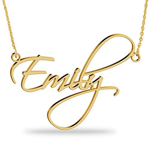 JoelleJewelryDesign Collar con Nombre Personalizados Plata de Ley chapada en Oro 18k Joya para Mujer Regalo para Familia Novia Cumpleaño Cadena Ajustable