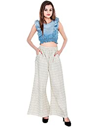 CAY White Color Printed Plazzo With Elastic Waist And Two Pockets Long Wear ( SIZE : FREE SIZE )