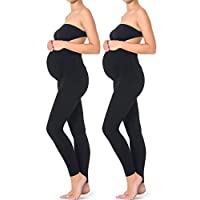 Mothers Essentials Maternity Pregnant Women Leggings, Shipping from USA (x-Large, Black)