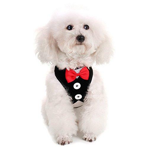 selmai Pet Soft Mesh Tuxedo Gentleman Hundegeschirr Weste und Hundeleine für kleine Hunde Katze gepolstert Verstellbarer Plaid
